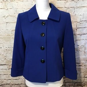 Tahari ASL Size 4 Royal Blue Blazer Collar